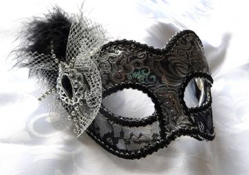 Petite Black & Silver brocade mask (glasses arms or ribbon fitting) (1a